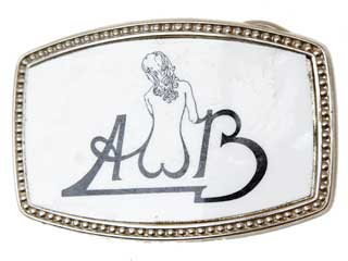 Silvertone buckle with AWB and nude womans back in the W