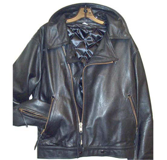 Naked leather motorcycle jacket with brass hardware