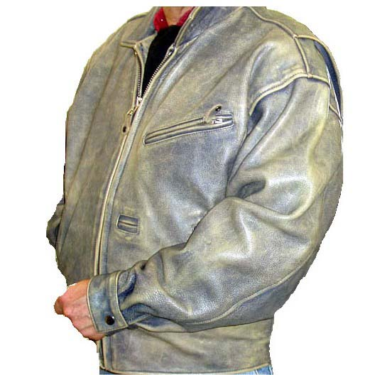 Jeans color heavyweight motorcycle jacket