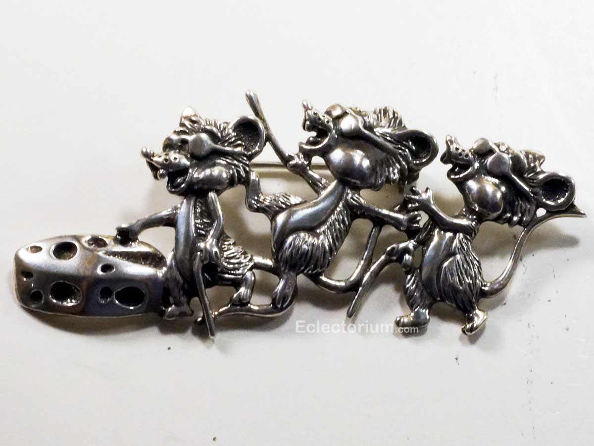 Sterling Silver Three Blind Mice Pin Broach